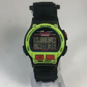 Vintage Timex Indiglo Womes Ironman Triathlon Black Multifunction Wristwatch