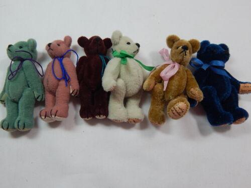 "World of Miniature Bears 2.5/"" Plush Bear Lot of 6 Bears #380 Set Collectible"