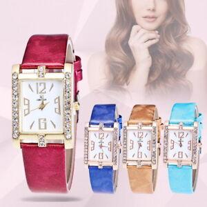 HS-Damen-Quadrat-Armbanduhr-Quarzuhr-Analoguhr-Rhinestone-Luxus-strass-Schmuck