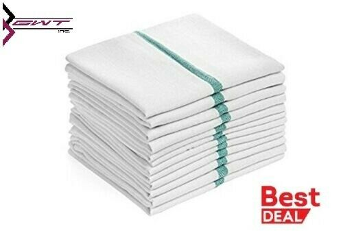 Dish towels 48 PACK Absorbent White Cotton GREEN Striped 15 x 26 Kitchen cotton