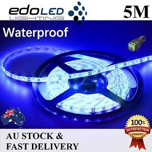 12V Blue Waterproof Flexible LED Strip Lights 5M 300 LEDs 3528 SMD Light Camping