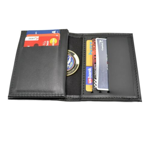 Challenge Coin Holder Leather Wallet Case Double ID Credit Card Slots USA Made