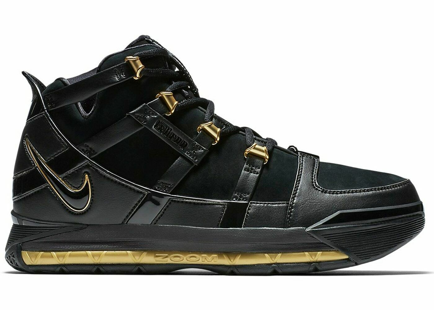 2018 Nike LeBron 3 III Black gold Size 14. AO2434-001