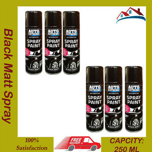 6 x 250ml auto extreme black matt spray paint car diy auto interior exterior can ebay. Black Bedroom Furniture Sets. Home Design Ideas