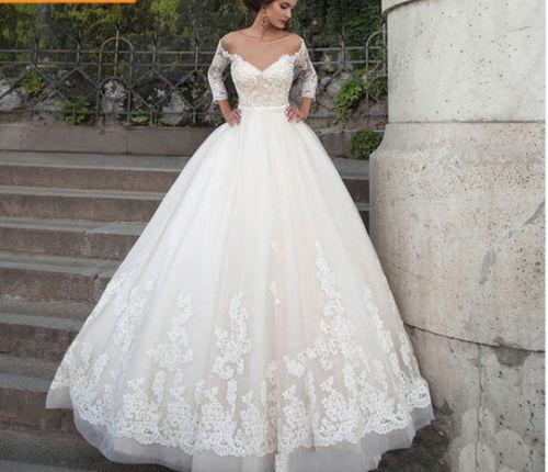 2018 Vestidos De Novia Lace Wedding Dress Three Quarter Sleeves Backless Custom