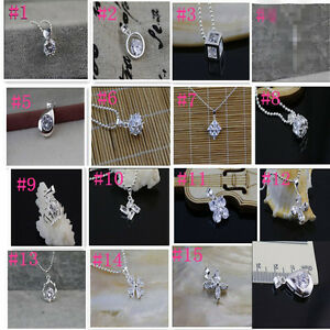 925 Sterling Silver Plating Fashion Women Crystal Pendant Jewelry Wholesale #5