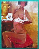 Original Impressionist Oil Painting Hoop Earring Nude by Alexei Petrenko