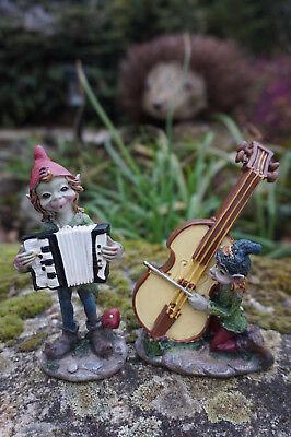97223 Deux Figurine Statuette Troll Lutin Musicien Accordeon Violoncelle Per Soddisfare La Convenienza Delle Persone