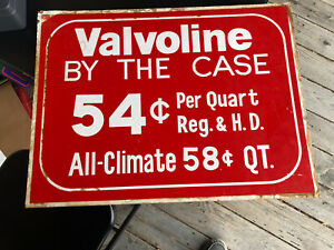 Valvoline by the Case .54c per Quart All-Climate .58c 2 sided sign cardboard