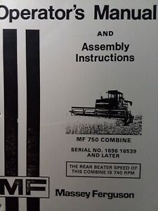 Massey Ferguson Mf 750 Combine Industrial Agricultural Farm Tractor Owner Manual Ebay