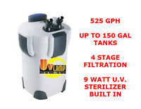 Sunsun Hw304b Canister Filter W/ U.v Sterilizer. 525gph Up To 200 Gallon Tanks.