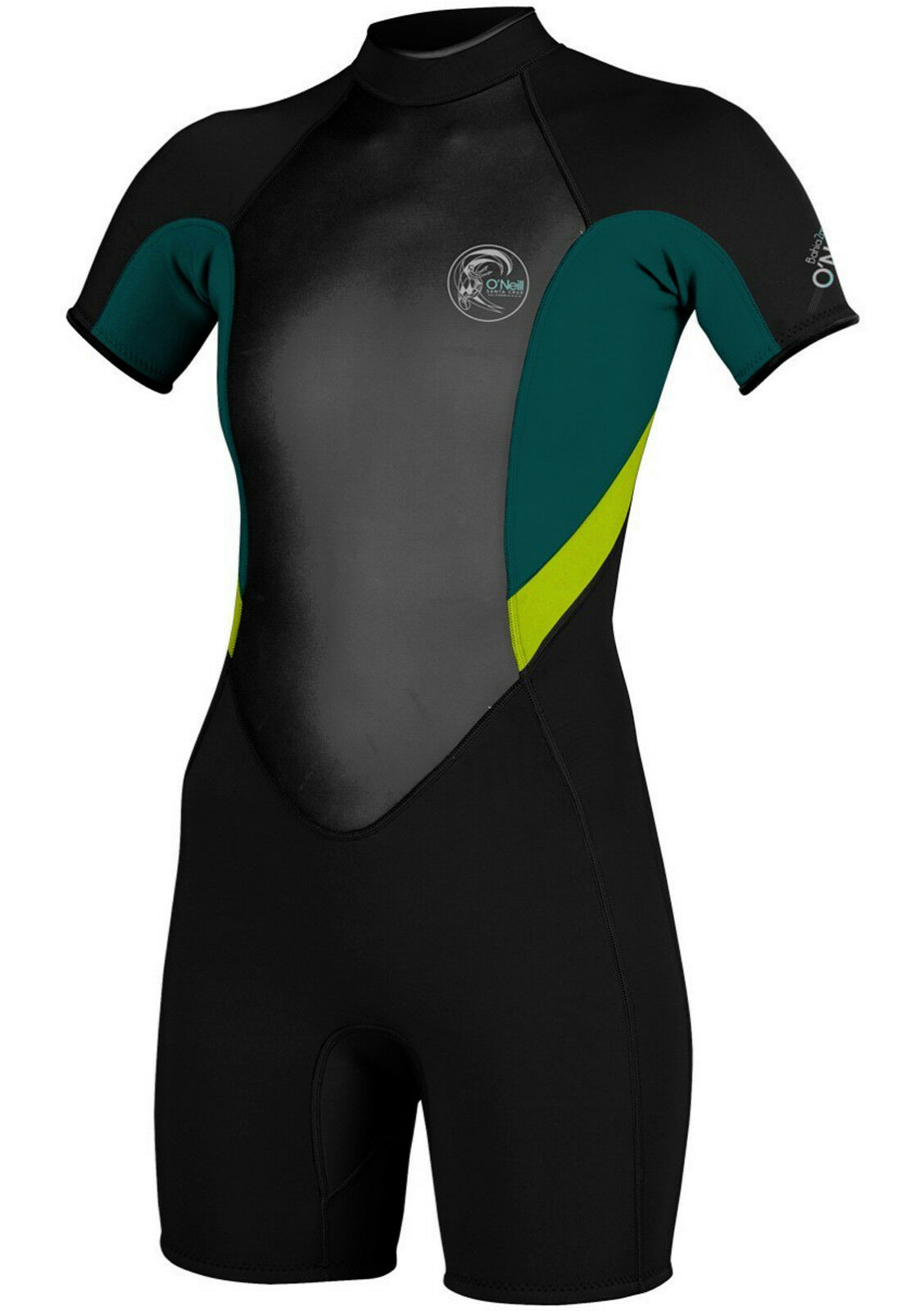 O'NEILL Women's 2mm BAHIA S S Spring  Suit - BLK DPTEAL LIME - Size 4 - NWT  offering 100%