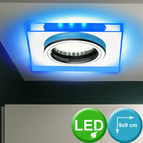 2er Set Glas Einbau Strahler Deko LED Schlaf Zimmer Flur Decken Spot Lampen blau