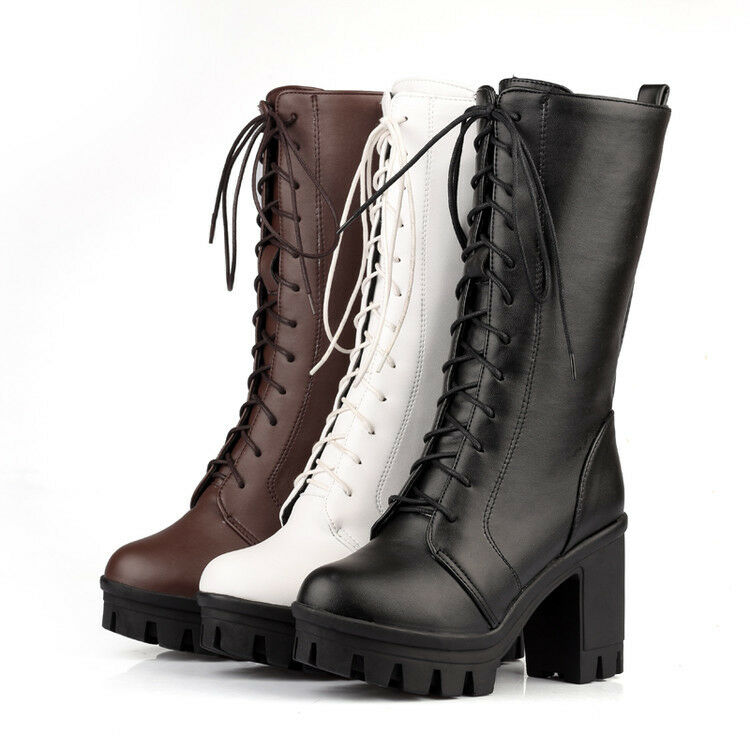 Women's Block High Heels Lace Up Round Toe Platform Punk Mid Calf Boots shoes