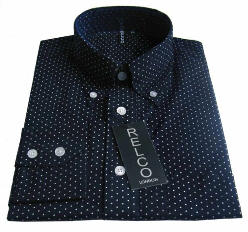 Navy Pindot Polka Dot Men/'s Shirt Vintage Design 100/% Cotton Relco size S-3XL