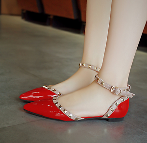 Womens-Pointed-Toe-Rivets-Ankle-Straps-Patent-Sandals-Shoes-Flat-Pump-Shoes-Stud