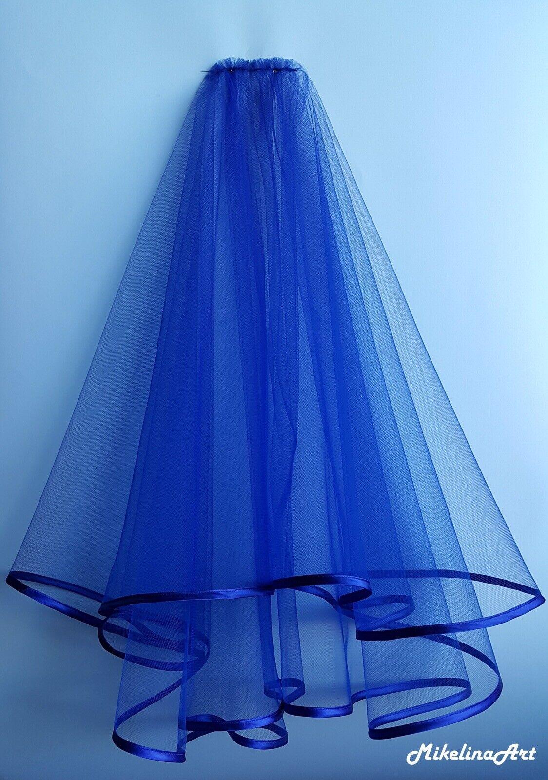 Wedding Veil Royal Blue,Two Layers,Royal Satin Edging,Handmade Item,tulle