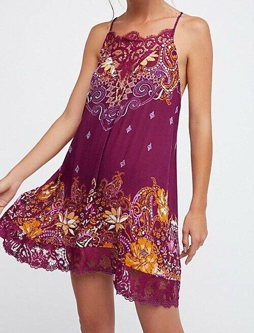 Free People Who's Sorry Now Printed Slip Dress Größe Small New