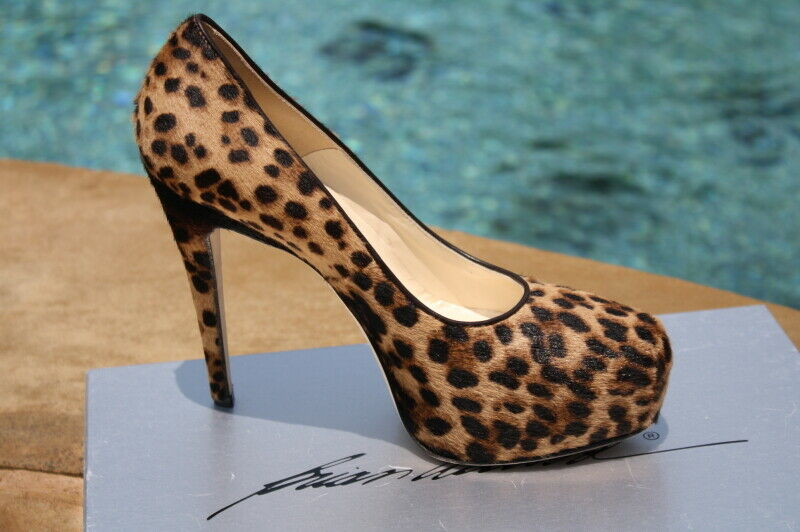 Brian Atwood Atwood Atwood leopard maniac pony gold pumps shoes high medium 7.5  37 1 2 NIB 60f52e