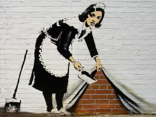 Banksy Sweeper Woman Maid CANVAS WALL ART DECO LARGE READY TO HANG all sizes