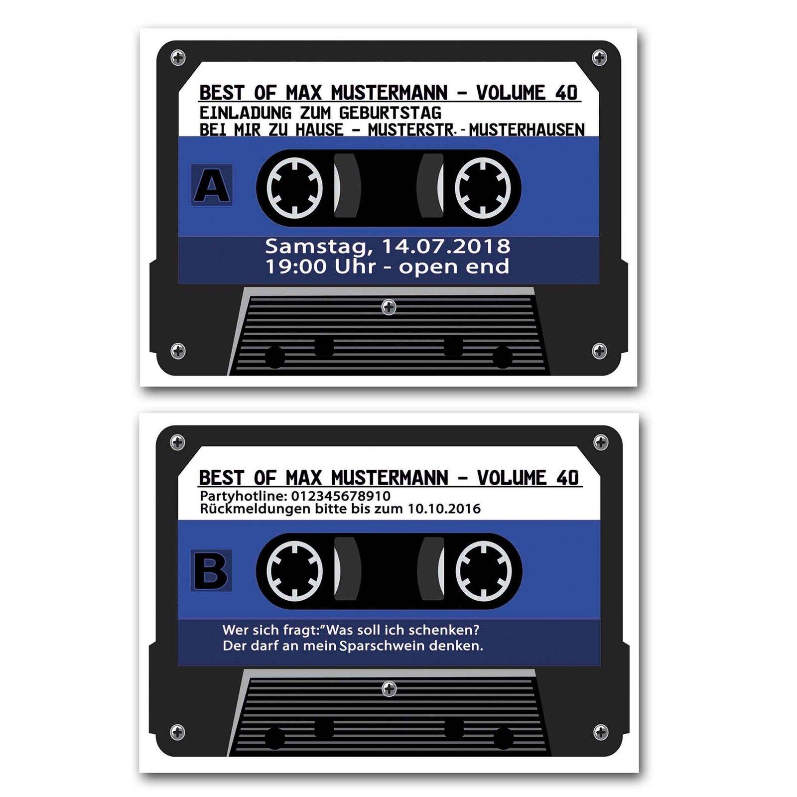 Einladungskarten Musikkassette Jahrgang 1975 40. Geburtstag blau Musik Kassette | Zürich Online Shop  | Angemessener Preis