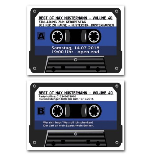 Einladungskarten Musikkassette Jahrgang 1975 40 Geburtstag blau Musik Kassette