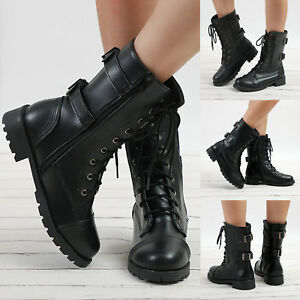 Lady-Women-Military-Boots-Army-Combat-Ankle-Lace-Up-Flat-Biker-Zip-Buckle-Shoes