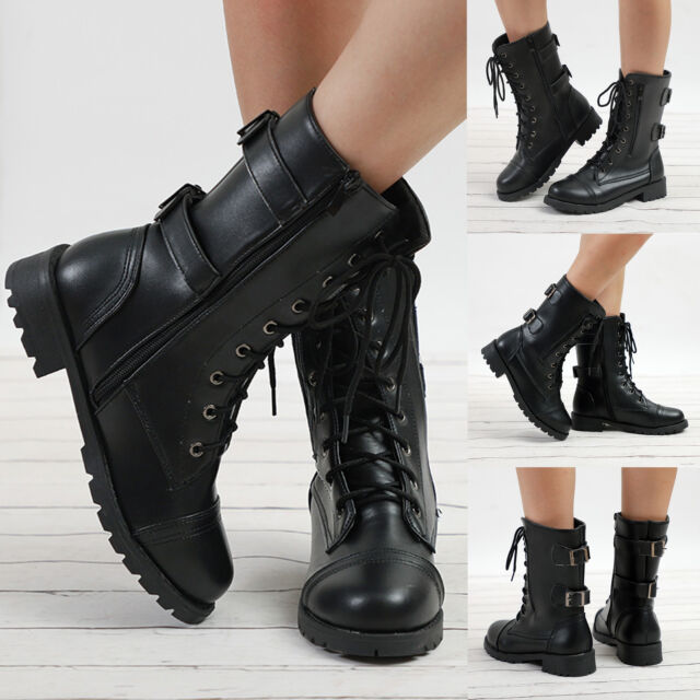 LADIES WOMENS COMBAT ARMY MILITARY WORKER LACE UP FLAT BIKER ZIP ANKLE BOOTS AU