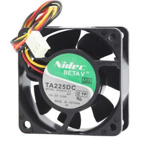 For Nidec TA225DC B34605-57 6CM 6025 12V 0.58A ball bearing cooling fan