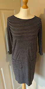The-White-Company-Stripe-Tunic-Dress-Easy-Care-Front-Pockets-Black-Grey