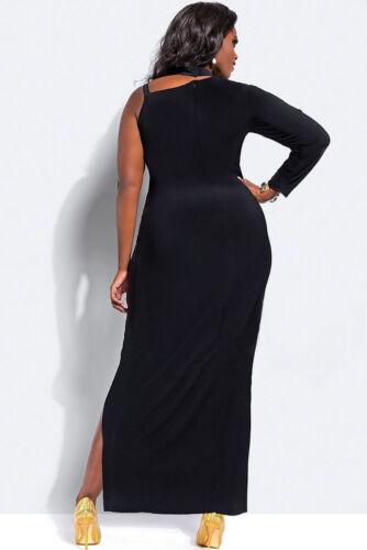 Ladies Women Evening One Sleeve High Slit Maxi Red Black Dress Plus Size 16 18