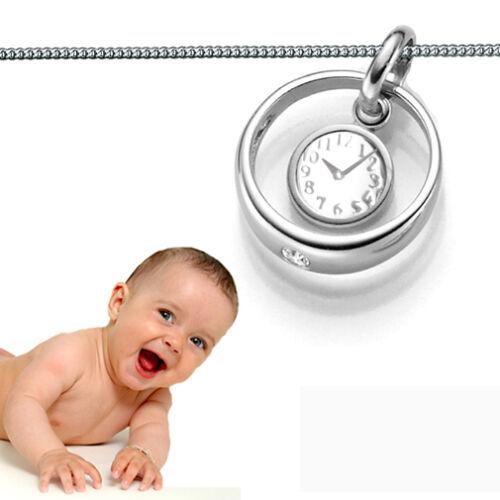 Baby Taufring Taufkette mit Tauf Geburtsuhr mit Uhrzeit Gravur Echt Silber 925