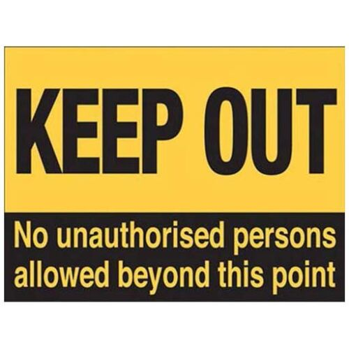 Small Metal Tin Sign Keep Out Warning No Entry Work Unauthorised Access Door