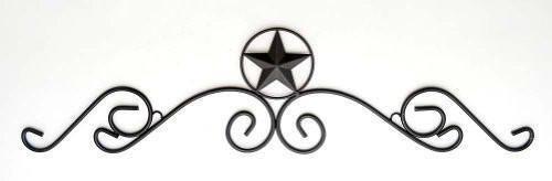 """Texas Star Wrought Iron Over Door Header-36/""""L x 8.5/""""H."""