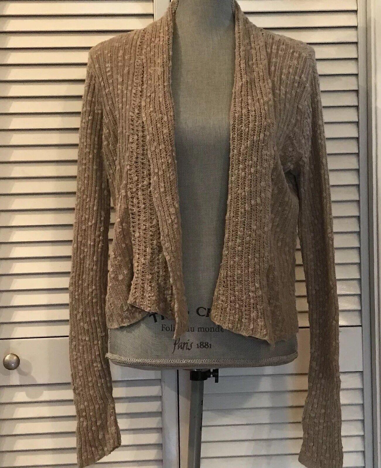 Eileen Fisher Lightweight Tan Brown Open Cardigan Sweater Sz Xsmall