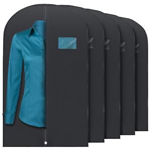 5-Pcs-40-inch-Garment-Bag-for-Suit-Dress-Storage-Black-with-Transparent-Window