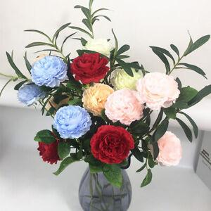 3-TESTE-ROSE-Finte-Artificiali-Di-Seta-Peonia-Fiore-Bouquet-da-Sposa-Wedding-Home-Decor