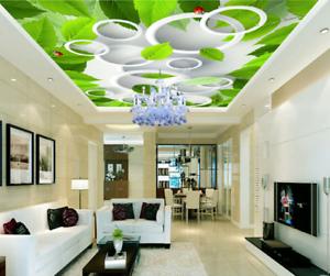 3D Circle Leaves 89  Ceiling WallPaper Murals Wall Print Decal Deco AJ WALLPAPER