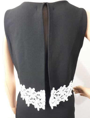 Ex QUIZ BLACK Bodycone Dress White lace trim Overlay  Size 8-16