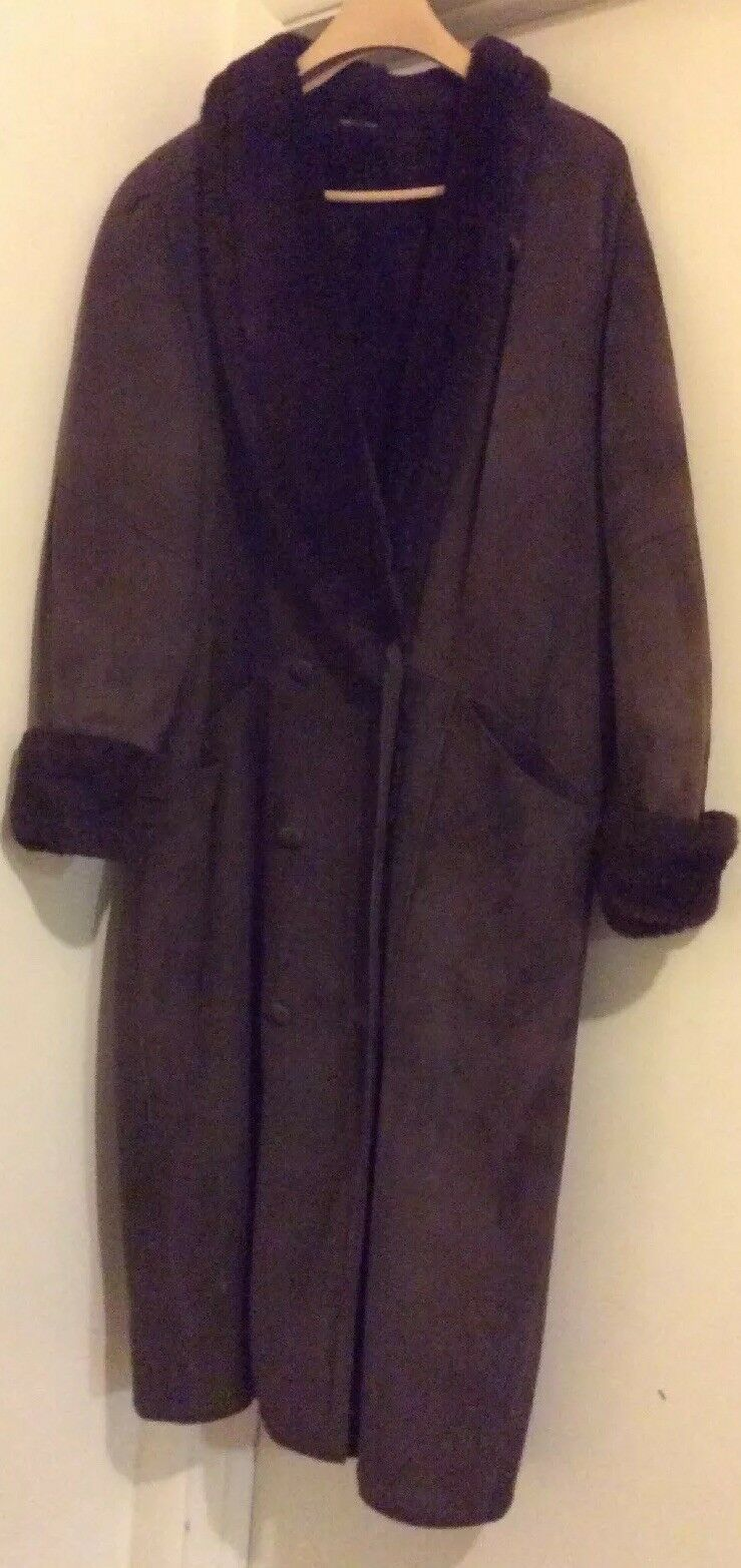 Women's LARGE Long  Dark Brown Authentic Real SHEARLING  SUEDED Leather Coat