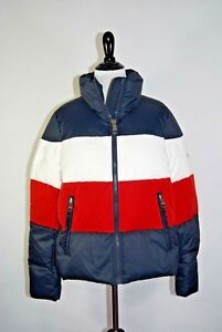 b5a74a12 Image is loading Tommy-Hilfiger-Colorblock-Down-Puffer-Jacket-Size-Small-