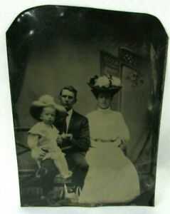 Tintype Photograph Family Boy Cowboy Hat Horse Grooming Tool Victorian Dress Hat