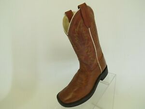 Old-West-Brown-Leather-Cowboy-Western-Boots-Youth-Size-1