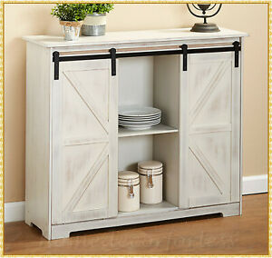 Farmhouse-Barn-Door-Buffet-Cabinet-Sideboard-Cupboard-Storage-Hutch-Kitchen-Bar