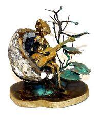 Vintage Modernist ~Bronze~ Girl w/Guitar Sculpture on Geode Quartz & Septarian
