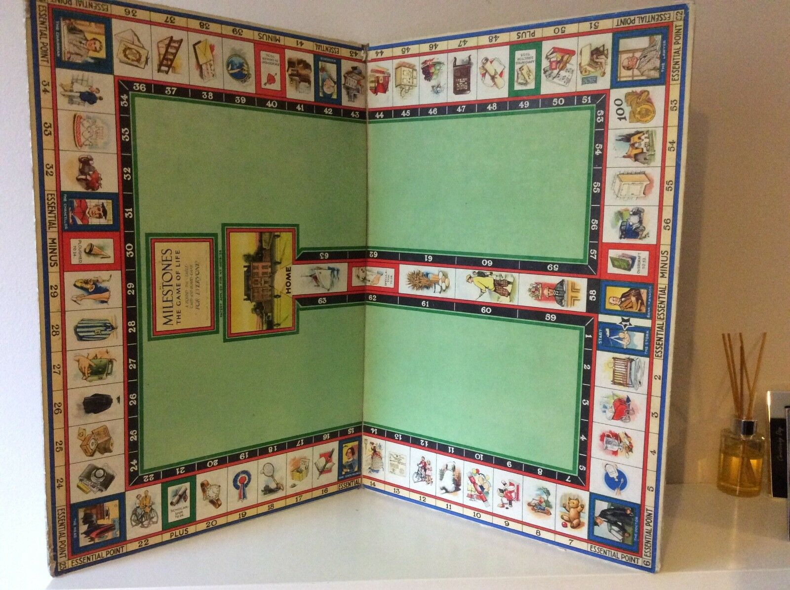 VINTAGE 1938 MILESTONE 'THE GAME OF LIFE' BOARD GAME BOARD ONLY