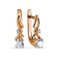 Solid 9ct Gold Stunning Leverback Huggie Hoop Cz Earrings