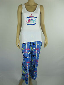 Mitch-Dowd-Ladies-2-Piece-Pyjamas-Lounge-Wear-Sleepwear-size-Medium-White-Blue