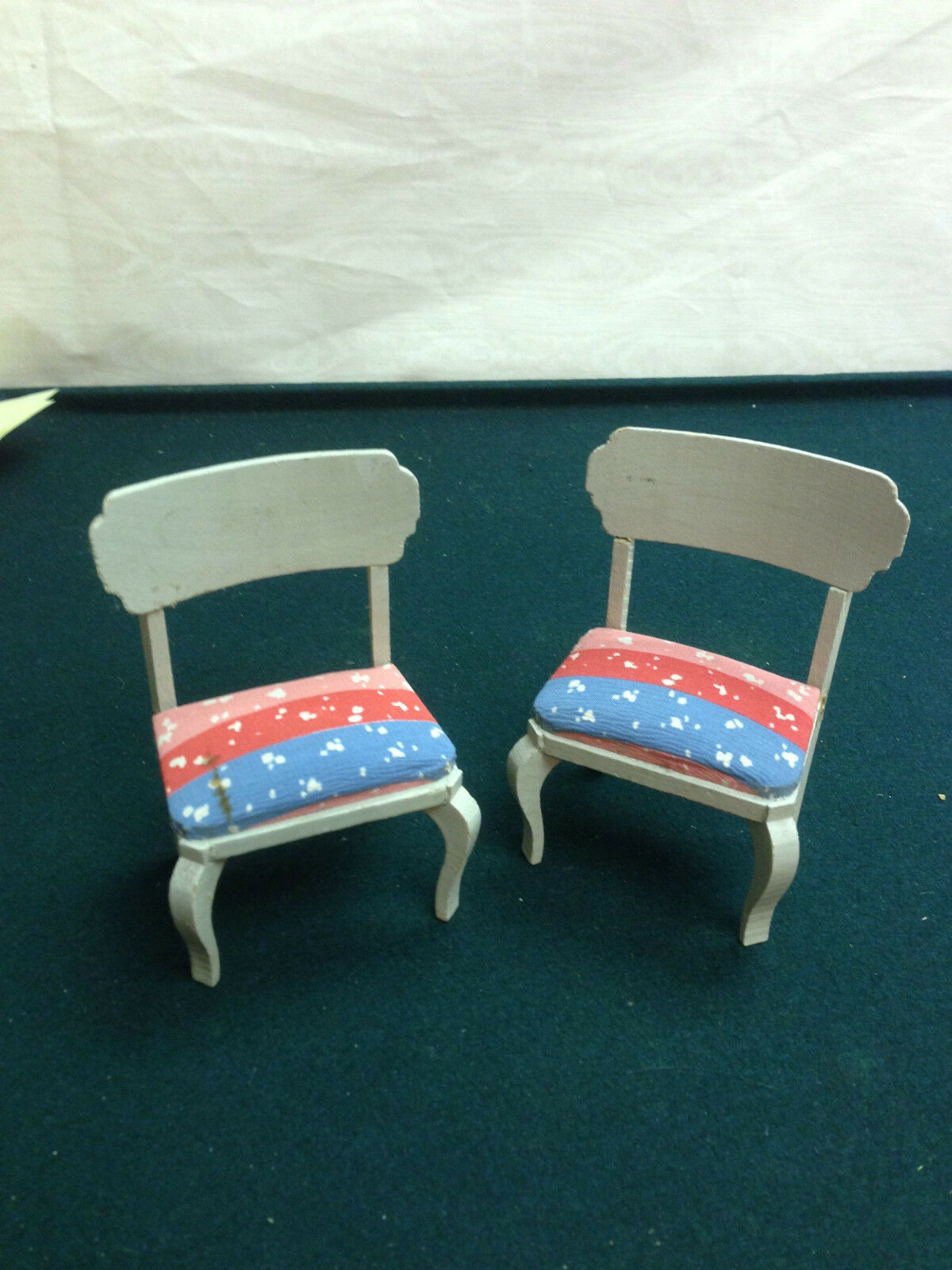 Dollhouse Miniature Pair Wood Chairs w Cloth Seats  Antique Furniture Germany