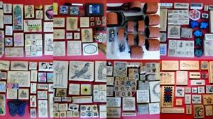 Huge-Lot-Over-400-Pieces-Rubber-Stamps-amp-Wheel-Rollers-Borders